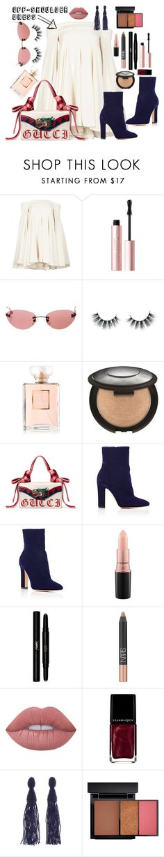 """off-shoulder"" by diana-dabs ❤ liked on Polyvore featuring Brandon Maxwell, Too Faced Cosmetics, Chanel, Unicorn Lashes, Gucci, Gianvito Rossi, MAC Cosmetics, Yves Saint Laurent, NARS Cosmetics and Lime Crime"