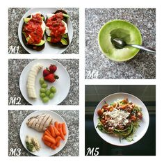 M1 ● 2 rye toast, 2 eggs, 1/2 avocado and salsa. M2 ● 1 banana, grapes and strawberries. M3 ● chicken breast, jalepano cilantro hummus & carrots. M4 ● 1/2 small honeydew melon. M5 ● zoodles  1 zucchini peeled with a julienne peeler cooked on medium for 2 - 3 min, 2 kumato tomatoes cooked with a teeny bit of coconut oil, salt & paprika cooked on high 1 min, add goat cheese and voila! Fast and easy dinner and around 100 calories. I ate a lot of carbs yesterday so trying to eat good today