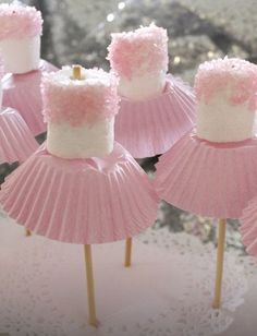 for Amzi's birthday? Marshmallow ballerinas Oh goodness - now, we've all seen cake pops, and we all know about what fun they can be for a party. so how about this for a theme, the ballerina party, complete with little marshmallow ballerinas!