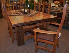Reclaimed Barnwood Table and Chairs - these trees were growing when the Mayflower landed!  Beautiful! www.rusticranch.ca