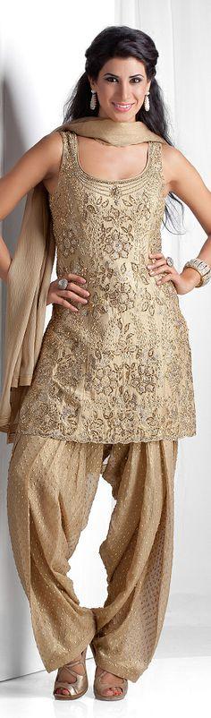 Patiala style Churidar Kurta with Swarovski, kundan and sequin embellishments