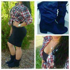Style up a plain black dress: tie up a fannel top & throw on cute #ankleboots &now ur Ready2go #fashion #style #follow #f4f #instafashion #fblogger #aboutalook #curvygirlfashion #ootd #wiw #wiwt #outfitinspo #followme #curvygirl #curves #jjlifenstyle