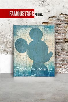 Mickey print Mickey abstract poster Disney Art Never by FamouStars