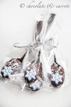 Snowflake Chocolate Spoons {gift}   chocolate & carrots