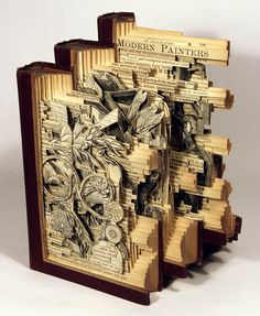 Art pieces carved from old books....