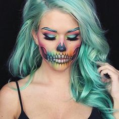 Gorgeous colorful sugar skull Halloween make-up. 10 beautiful Halloween makeup looks! Maquillage Halloween Clown, Party Make-up, Ideas Party, Party Hats, Party Dress, Make Up Gesicht, Full Lace Front Wigs, Halloween Makeup Looks, Halloween Makeup Sugar Skull
