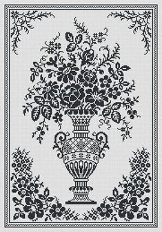 """For sale is Monochrome Vintage Floral Vase Counted Cross Stitch Pattern in PDF Format. This design is re-charted from old Filet Crochet chart. Pattern can be used for Cross Stitching, Knitting, Crocheting, Beading, Lace Net Embroidery and much more! Fabric – Aida 16 Count Size – 171 w x 249 h stitches – 10 5/8""""w x 15 1/2 h Color – 1 Threads - DMC PDF Pattern includes: 1. Picture of full design with grid and without grid. 2. Enlarged Chart of the Design in Black and White blocks. 3...."""