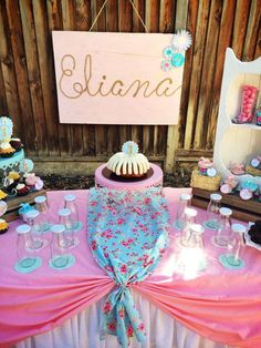 Pony birthday party dessert table and backdrop!  See more party planning ideas at CatchMyParty.com!