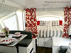 To keep your camper remodel on budget, use inexpensive dropcloths for most of the curtains in your pop up camper.  Save the expensive home decor fabric for accent curtains on the bunkends.