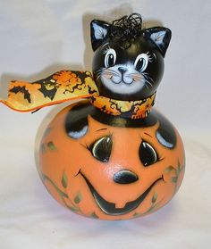 Halloween Black Cat and Jack-O-Lantern Gourd  by FromGramsHouse