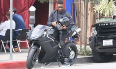 Nothing but Dirty Bikers!  Usher is seen heading to breakfast on his new Ducati motorcycle in Los Angeles