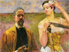 Art Gallery Emi - Jacek Malczewski - Self-Portrait with Thanatos Bad Art, Oil Painting Reproductions, Couple Art, Museum Of Fine Arts, Agra, Famous Artists, Art Images, Art History, Artists