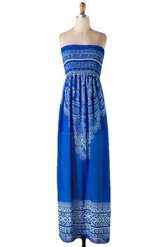 Born Free Scarf Print Strapless Maxi Dress - Blue