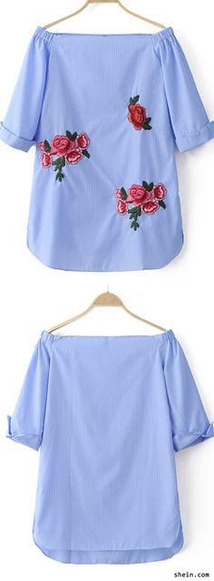 Blue Off The Shoulder Stripe Embroidery Dress. Save 40% off 1st order!
