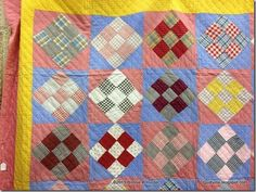 Close up of 1870s PA Dutch Quilt.  Found in Allentown, PA April 2013
