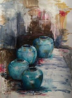 Jarrones azules Still Life Art, Pastel Art, Pottery Painting, Painting Inspiration, Watercolor Paintings, Art Drawings, Art Projects, Abstract Art, Artwork