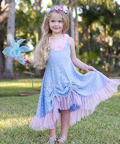 Look at this #zulilyfind! Light Blue Lace Drawstring Dress - Toddler & Girls #zulilyfinds