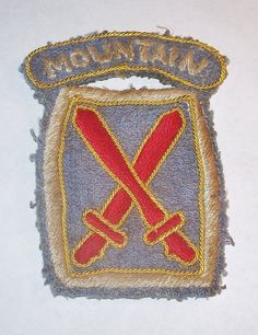 AMAZING ORIGINAL WW2 ITALIAN MADE 10th MOUNTAIN DIVISION PATCH, HAND EMBROIDERED