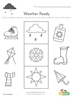 Match the items with the weather they go with. Science Worksheets, Worksheets For Kids, Printable Activities For Kids, Educational Activities, Matching Worksheets, Holiday Crafts, Crafts For Kids, Weather, Crafts For Children