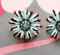 Free Shipping Vintage Star Earrings Clip On Aqua by resurrections, $14.97