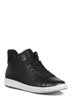 JOE'S JEANS Joe Z Mid Top Leather Sneaker. #joesjeans #shoes High Top Sneakers, Shoes Sneakers, Joes Jeans, Leather Sneakers, Lace Up, Nordstrom, Black, Fashion, Loafers & Slip Ons