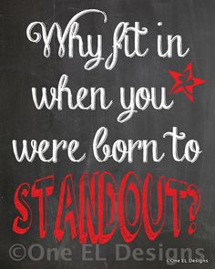 BORN TO STANDOUT  Chalkboard Dr. Suess Quote by OneELdesigns, $2.15