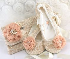Bridal Lace Clutch and matching Lace Ballet Flats in by SolBijou, $190.00