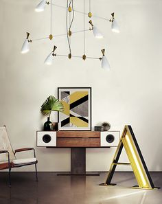 Living Room Ideas | DUKE Contemporary Suspension Lamp and A Graphic Collection | DelightFULL | See more: https://www.brabbu.com/en/all-products.php