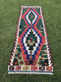 "Vintage Tribal Wool Turkish Kilim Runner,Hallway Rug,Stairway Runner 3'4""x10'5"" 