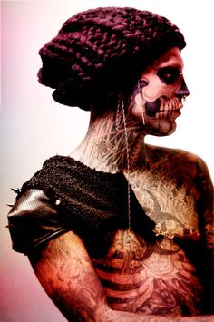Rick Genest AKA Rico the Zombie Art is everywhere. Make your art stand out with Arc reactions marekting http://www.pinterest.com/arcreactions/tattoo-artistshop-arc-reactions/