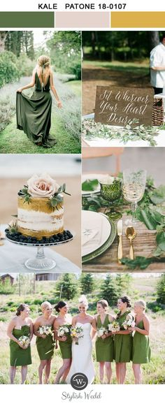 simple kale green and glitter gold spring and summer wedding colors for 2017