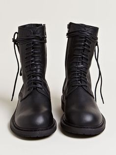 ::ann demeulemeester | women's vitello olio lace up boots