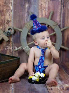 Baby Boys Nautical First Birthday Cake Smash Outfit Includes Personalized Hat Tie And Diaper Cover By Sweet William Boutique