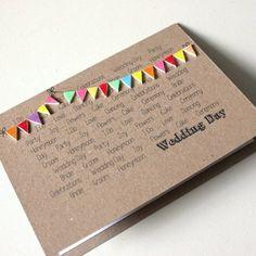 carte félicitation mariage originale avec guirlande à fanions