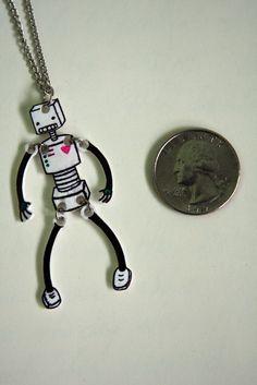 Shrinky Dink Robot Necklace. $13.00