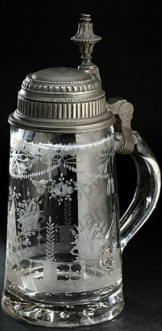 ANTIQUE GLASS: DRINK SETS, DECANTERS, GLASSES & RELATED BARWARE. c.19th ENGRAVED BEER STEIN TANKARD WITH ORNATE PEWTER LID. To visit my website click here: http://www.richardhoppe.co.uk or for help or information email us here: info@richardhoppe.co.uk