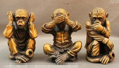 "SUIRONG 1228+++8"" Folk Chinese Copper Different Emotions Zodiac 3 Not Monkey Statue Set"