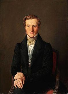 Constantin Hansen (1804-1880): Portrait of Frederik Hammerich (1809-1877) in a black jacket and a blue waistcoat, 1834