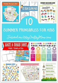 Don't waste the summer wondering what to do? Check out our ultimate list of 100 summer activities for kids, including crafts, printables and more! Kids Printable Coloring Pages, Printable Activities For Kids, Fun Activities, Printable Crafts, Free Printables, Summer Camps For Kids, Summer Activities For Kids, Summer Kids, Summer Safety