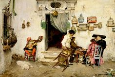 Figaro's Shop Jose Jimenez Aranda Spanish, 1875 oil on canvas Watercolor Landscape, Watercolor Paintings, Spanish Artists, Old Paintings, Urban Sketching, Moleskine, Art World, Figurative Art, Art Day