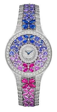 Classic Butterfly watch with full diamond and multi colored sapphires.