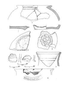 Jakuszowice, ceramika pseudośredniowieczna, datowane na pierwszą połowę V wieku (faza D)