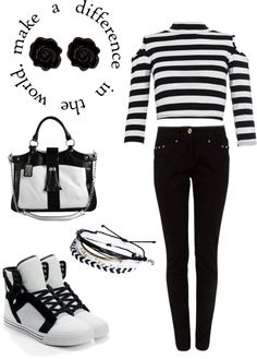 """""""Black and White"""" by sara-rossen ❤ liked on Polyvore"""