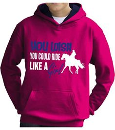 TWO TONE Hot Pink/Navy Hoodie 'YOU WISH YOU COULD RIDE LIKE A GIRL' with White & Pearlescent Blue Print.