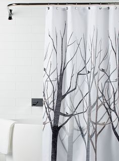 A Trendy Naturalistic Pattern With Leafless Trees In Modern Lines And Silhouettes Of Perched Birds Polyester Fabric Reinforced Grommets 183 X Cm