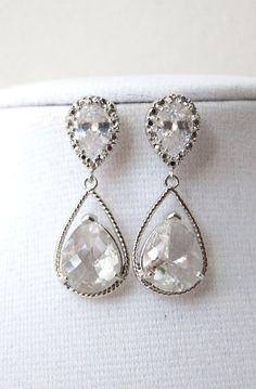 Silver Teardrop Crystal Earrings, gifts for her, simple Bridesmaid Earrings, Bridal, white Wedding Jewelry, Cubic Zirconia Earrings, by GlitzAndLove, www.glitzandlove.com