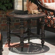 Outdoor Tommy Bahama Black Sands Aluminum Round Patio End Table - 01-3235-950