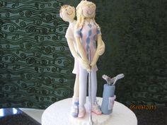 cartoon golfing cake topper hand made from sugar by Tania Riley, Johannesburg, SA 0829316200