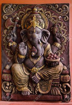 Picture of Sculpture of Gannesa hindu god on the orange wall stock photo, images and stock photography. Shri Ganesh Images, Ganesha Pictures, Clay Ganesha, Ganesha Art, Krishna, Backpiece Tattoo, Lord Hanuman Wallpapers, Lord Ganesha Paintings, Yoga Studio Design