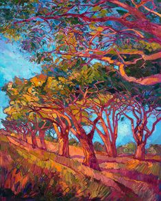 ERIN Hanson is a life-long painter, beginning her study of oil painting at 10 years old. As a teenager, she worked in a mural studio creating paintings for restaurants and casinos around the world. A graduate of UC Berkeley, Erin Hanson took pau. Erin Hanson, Abstract Landscape, Landscape Paintings, Abstract Art, Mode Vintage Illustration, Modern Impressionism, Fashion Painting, Art Plastique, Tree Art